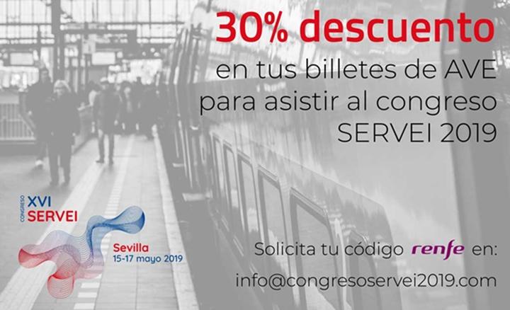 Descuento de Renfe para tu viaje al Congreso SERVEI 2019